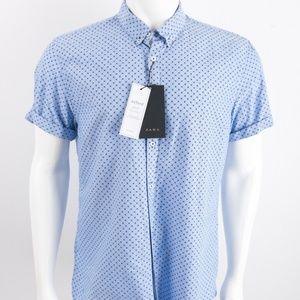 Zara Mens Printed Oxford Shirt Top Button Up Blue